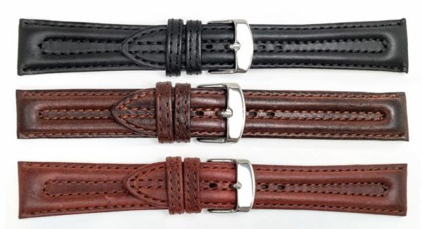 Biker Style Genuine Leather Watch Bands - Twin Padding - 13379