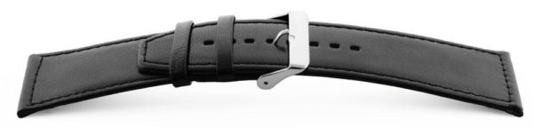 Smooth-Leather-Watch-Band-Wide-Flat-Black