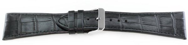 30mm black leather watch band