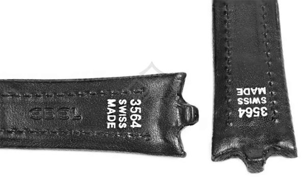 Black Ebel calf skin band - 3564 Swiss Made - pin and tube attachement - EB010