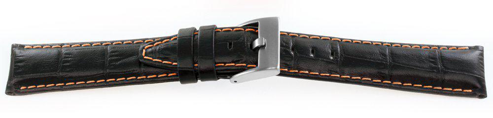 Alligator Grain Watch Band Black Orange