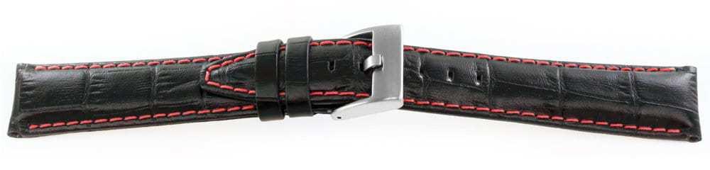 Alligator Grain Watch Band Black Red