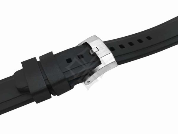 black rubber watch band for Rolex sport models by Everest with steel buckle