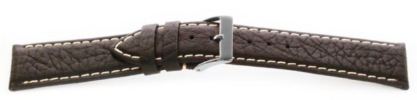 Sport Leather Watch Band  / Contrast Stitching Black