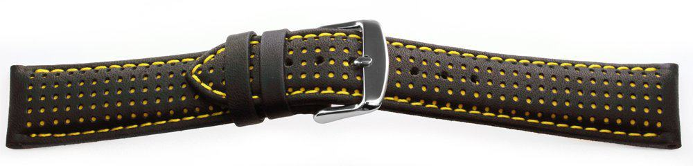 Sport Leather Watch Band / Dotted Pattern Yellow