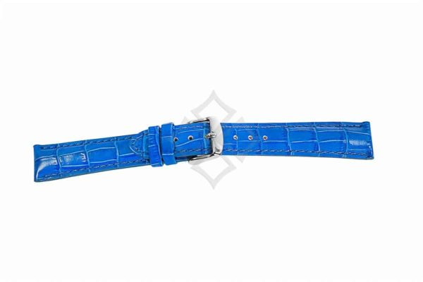 Blue crocodile grain chrono watch band - 30687