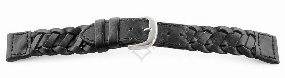 braided black leather watch band