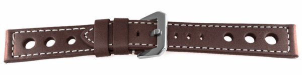 brown racing watch band with rally holles - 13227