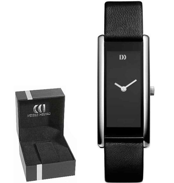 Danish Design Women's Rectangular Matte-Black Stainless Steel Wristwatch With Red Hands (IV13Q895)