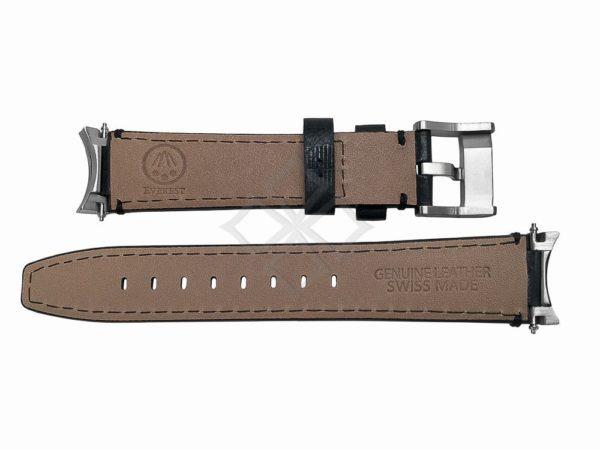 Everest Black Steel End Link Leather Watchband eh3blk for Rolex Sport Models