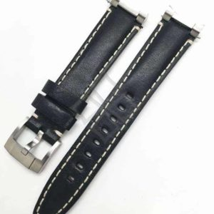 Everest Black White Stitch Italian Tanned Calf Leather with Steel End Links 20mm