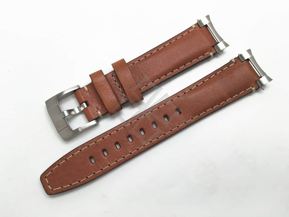 Everest Brown Natural Italian Tanned Calf Leather with Steel End Links 20mm for Rolex