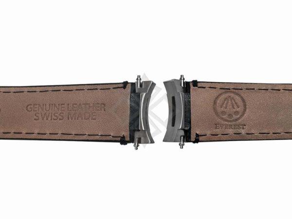 Everest Leather Strap eh3blk with steel endlinks for Rolex Sport Models