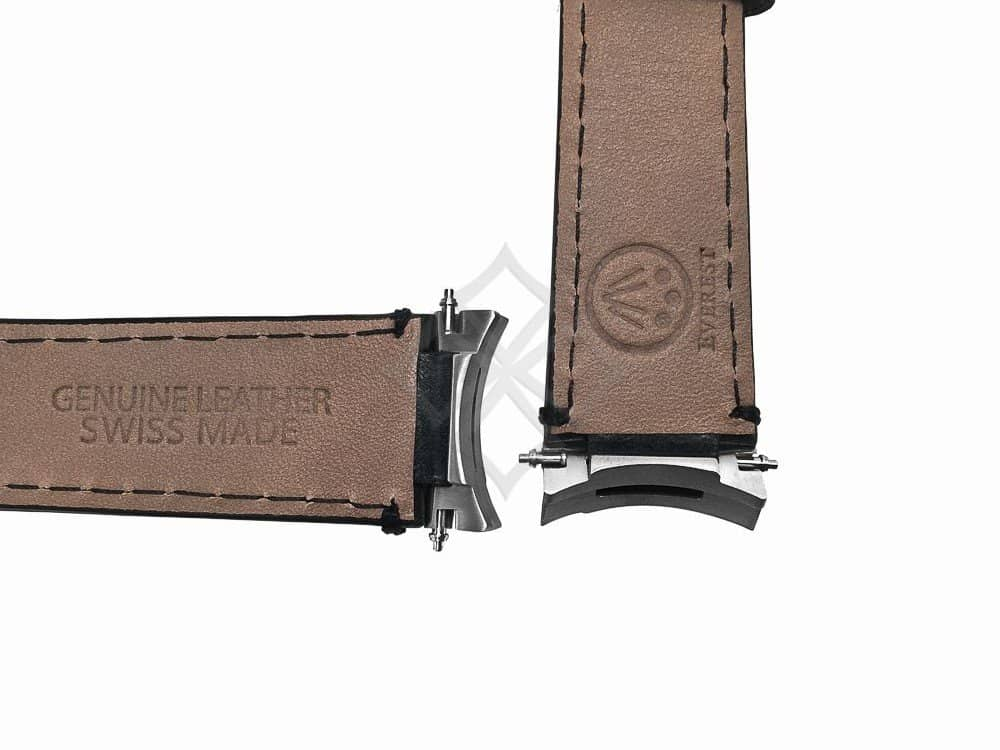 Genuine Leather Swiss Made Watch Band eh3blk for Rolex Submariner and Sea Dweller