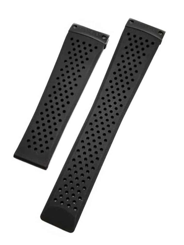 Genuine Perforated Black Rubber Construction Tag Heuer Grand Carrera TG616