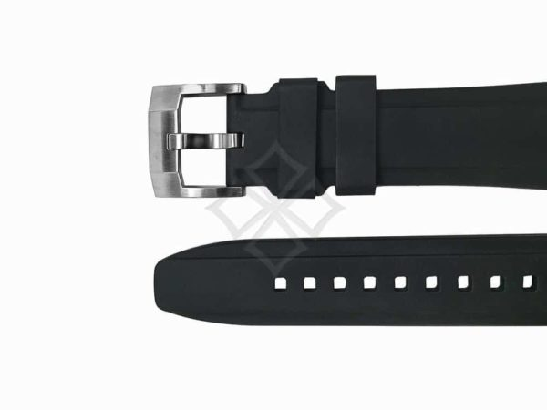 Genuine rubber strap by everest bands with stainless steel tongue buckle eh5blk