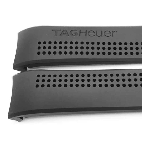 Genuine Tag Heuer perforated black rubber strap design TG014