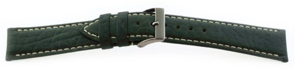 Sport Leather Watch Band  / Contrast Stitching Green
