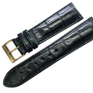 Handmade Black Alligator watch band - Alig1822