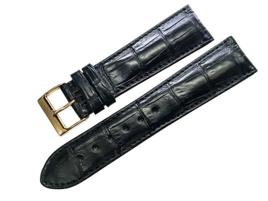 Handmade Black Alligator watch band - Alig1822