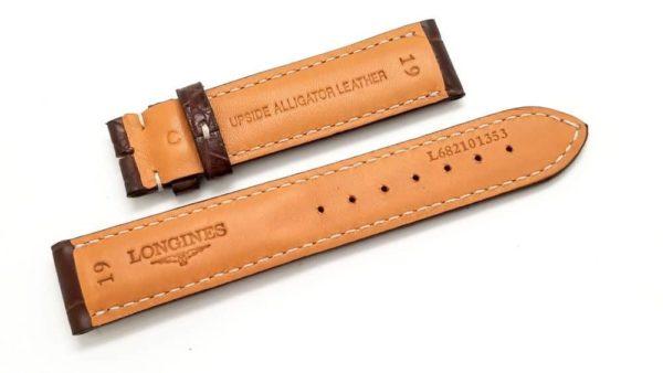 Longines 19m Brown, semi gloss finish reinforced w white stitching