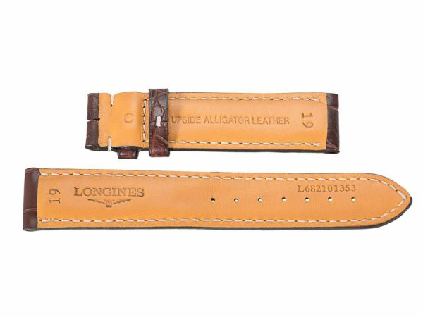 Longines, Upside Alligator Leather, 19, L682101353 embedded into inner part of bands