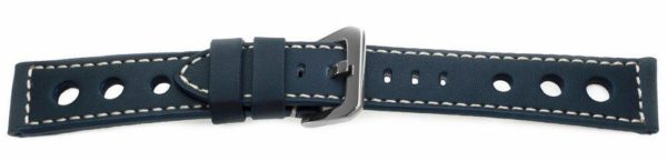 navy blue racing watch band with rally holles - 13227