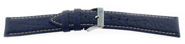 Sport Leather Watch Band  / Contrast Stitching Navy