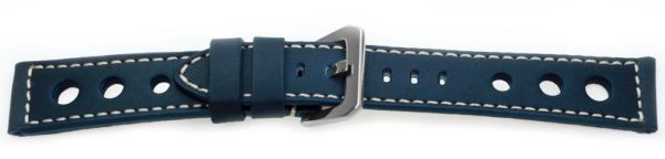 Sport Leather Watch Band Navy Blue