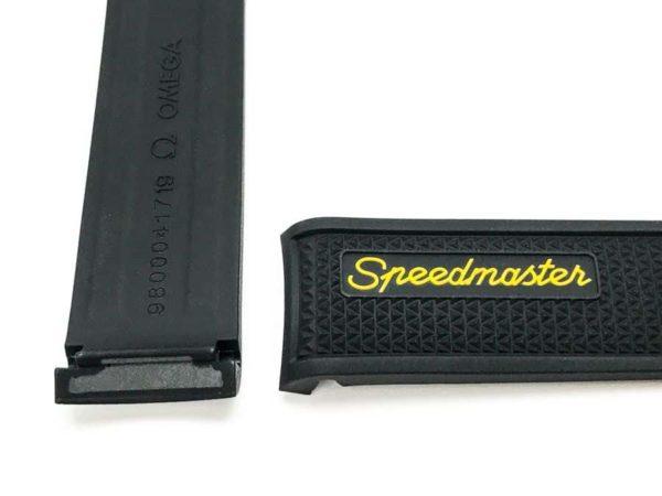 Omega Speedmaster rubber watch strap with yellow Speedmaster logo  MTO417