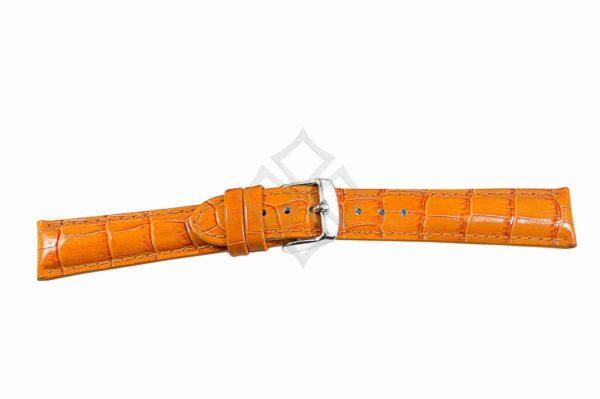 Orange crocodile grain chrono watch band - 30687