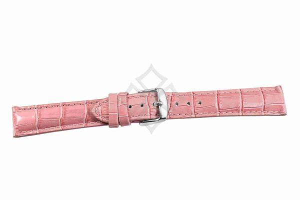 Pink crocodile grain chrono watch band - 30687