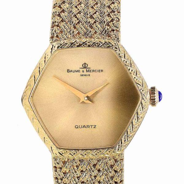 Rare Baume Mercier Hexagon 18K Solid Gold Quartz Watch
