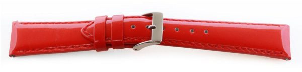 Glossy Leather Watch Band /  Short - Quick Release Red
