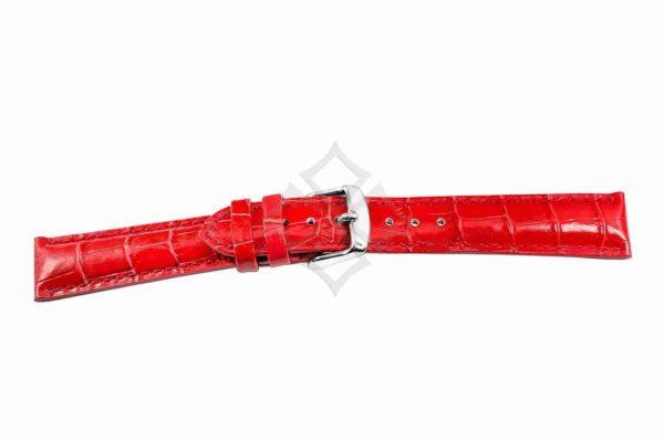Red crocodile grain chrono watch band - 30687