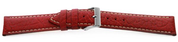 Sport Leather Watch Band  / Contrast Stitching Red