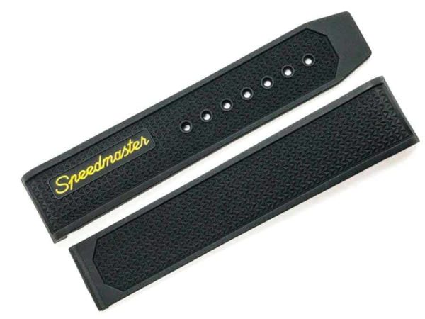 Replacement Omega Speedmaster Racing Black and Orange 19mm Rubber Watch Band - MTO417