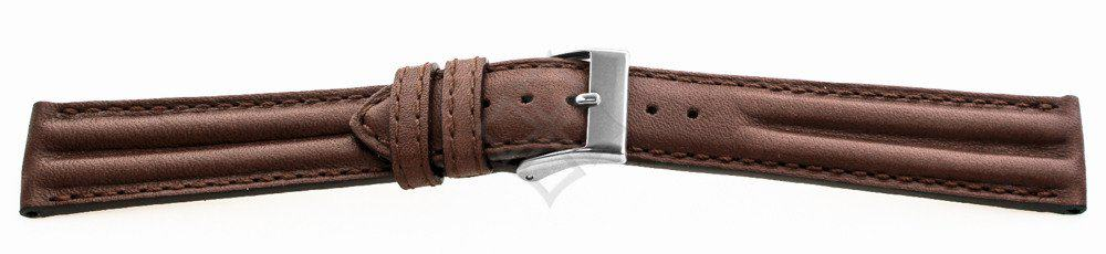 Soft Leather Double Ridged Brown watch band - 17480