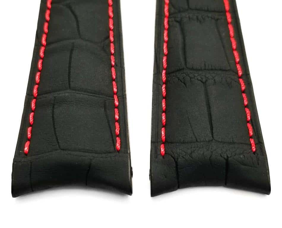 Tag Heuer Grand Carrera replacement watch band reinforced with red stitching
