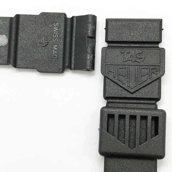 Tag Heuer logo molded on visible side of bands