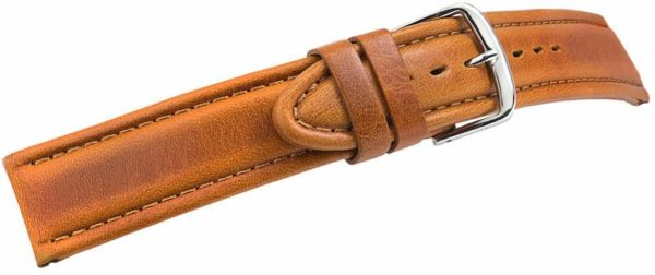 tan vintage style leather watch band - 52115