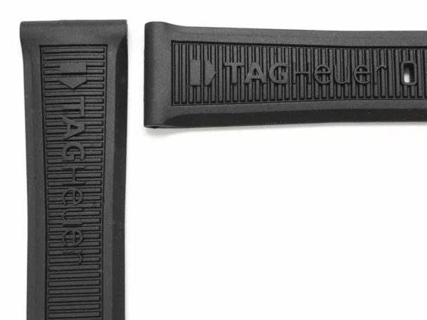 TG714 Tag Heuer logo molded on front part of strap and on band keper