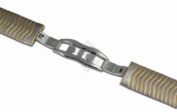 two tone ebel bracelet with a deployment buckle for Sport Classic watch