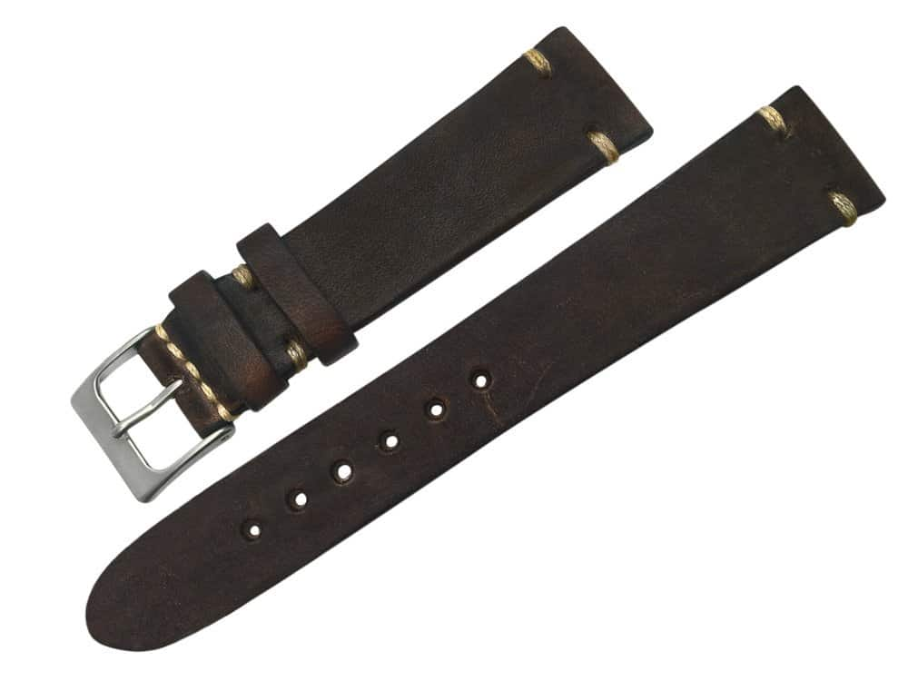Vintage Dark Brown Genuine Leather 20mm Watch Band - vin11
