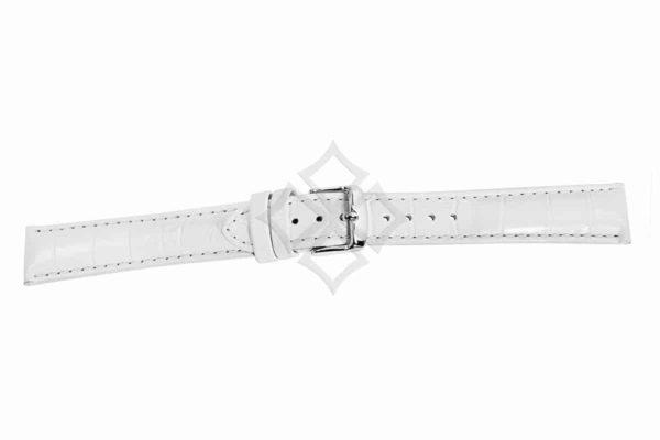 White crocodile grain chrono watch band - 30687