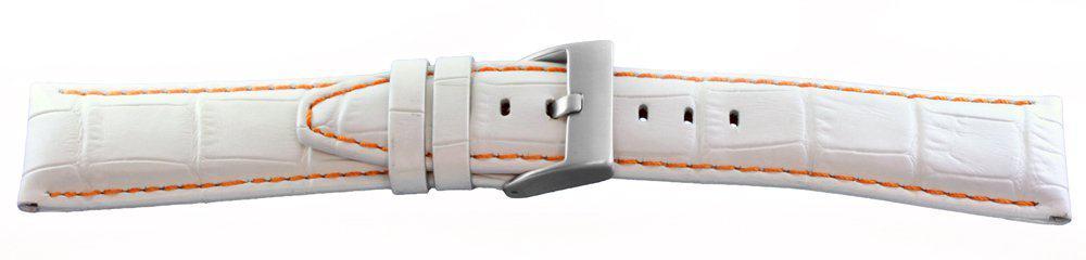 Alligator Grain Watch Band White Orange