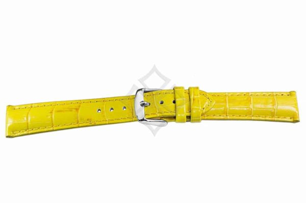 Yellow crocodile grain chrono watch band - 30687