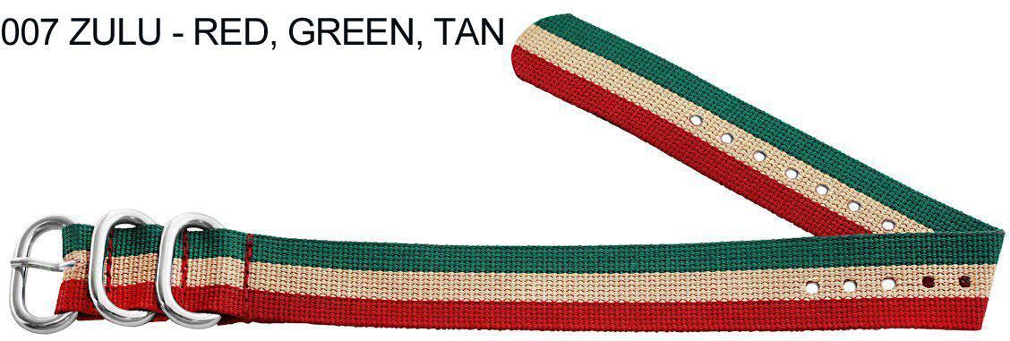 James Bond Nylon Zulu - red, green, tan